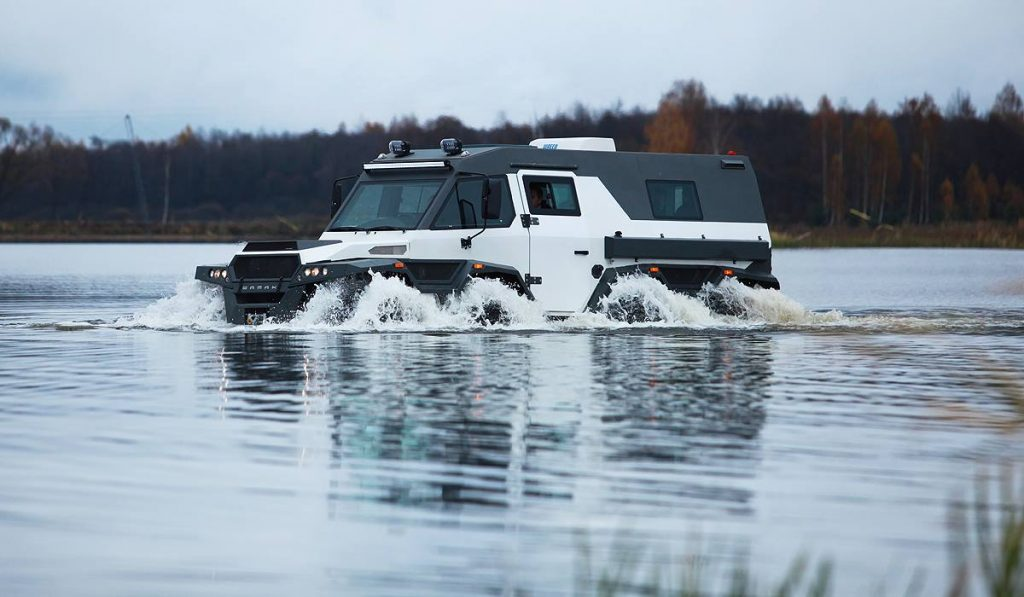 shaman Russian SUV driving on water